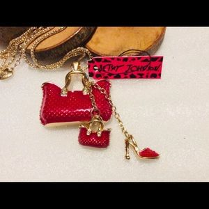 NWT Betsey Johnson Red Purse & Heels Necklace